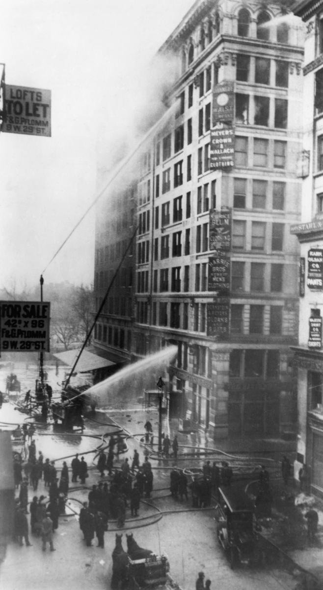 triangle shirtwaist fire A final catalyst transformed jewish workers into an organized presence on the industrial scene on saturday afternoon, march 25, 1911, some eight hundred young women and several dozen young men were at work on the top floors of the ten-story triangle shirtwaist company building.